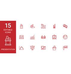 15 presentation icons vector image