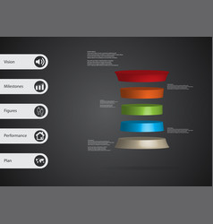 3d infographic template with deformed cylinder vector