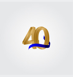 40 years anniversary celebration number gold vector