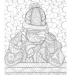 adult coloring bookpage a girl wearing a vector image