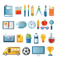Back to school icon set in paper art item vector