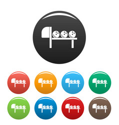 bowling stand balls icons set color vector image