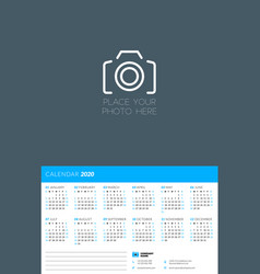 calendar design template for 2020 year week vector image