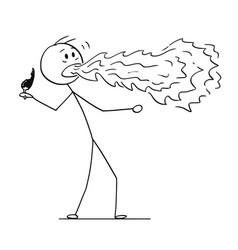 cartoon man with fire coming out his mouth vector image