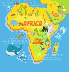 Cartoon map of africa with animals vector
