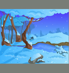 Cartoon winter background for a game art vector