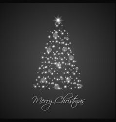 christmas tree from stars on black background vector image