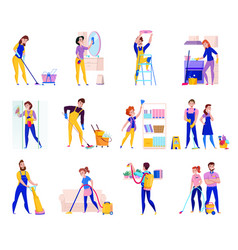 Cleaning service set vector