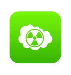cloud and radioactive sign icon digital green vector image