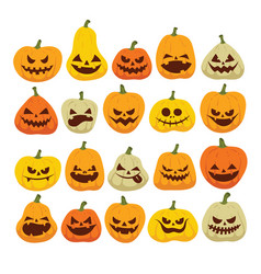 colorful halloween set of funny and scary vector image