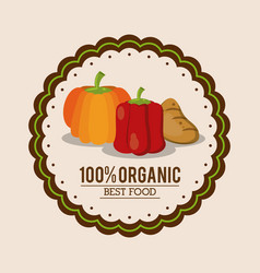 Colorful logo of organic best food with peppers vector