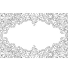 Coloring book page with monochrome vintage frame vector