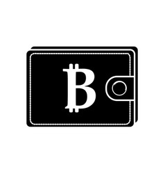 contour bitcoin symbon in the wallet to save money vector image