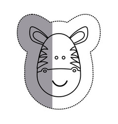 Contour face zebra icon vector
