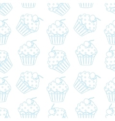 Cream cake seamless white pattern vector