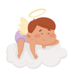 Cute boy angel with gold nimbus and wings sleeping vector