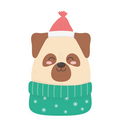cute dog with hat and sweater celebration merry vector image