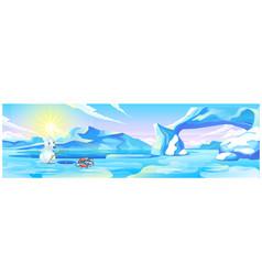 Cute picture a polar bear fishing cartoon vector