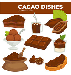 Delicious cacao sweet dishes and drink vector