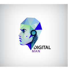 Digital man robot logo icon isolated vector