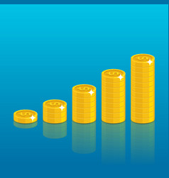 dollar coin stack vector image