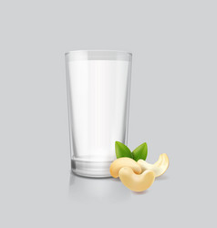 drinking glass of cashew nut milk with kernel vector image