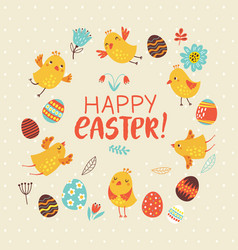 easter card with birds and flowers vector image
