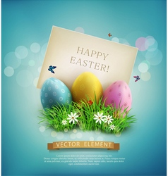 Easter eggs in green grass with white flowers vector