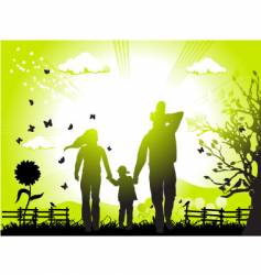 Family and landscape vector