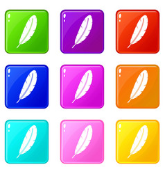 Feather pen set 9 vector