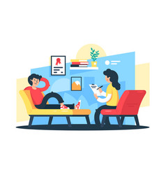 flat young man and woman therapist with tablet vector image