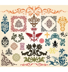 Floral heraldry elements vector