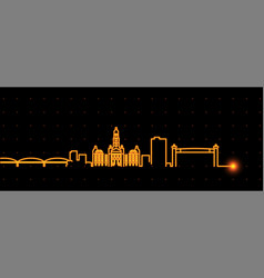 fort worth light streak skyline profile vector image