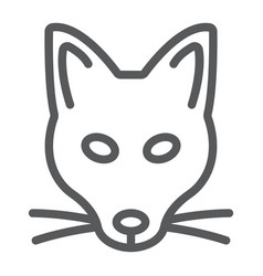 fox line icon animal and zoo vector image