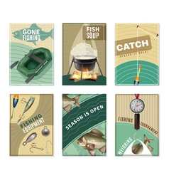Freshwater Fishing 6 Posters Prints Collection vector image