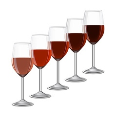glasses of wine on metal stand isolated on white vector image
