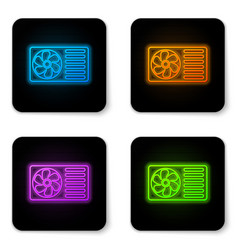 glowing neon air conditioner with fresh air icon vector image