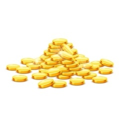 Gold coins cash money in hill vector image