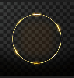 Golden frame with glow effect neon circle frame vector