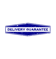 grunge blue delivery guarantee word hexagon vector image