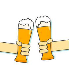Hand hold glass beer vector