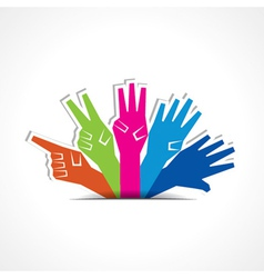 Hands make number one to five with copy-space vector image