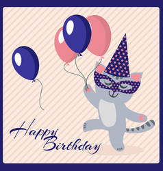 Happy birthday postcard template with cute vector