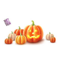 Happy halloween pumpkin jack lanterns gourd vector