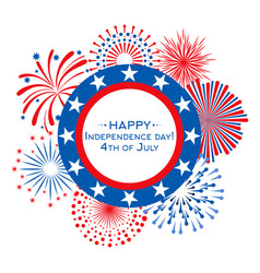 happy independence day card with fireworks vector image
