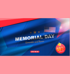 Happy memorial day sale banner with usa flag on vector
