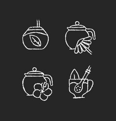 Herbal tea chalk white icons set on dark vector