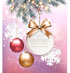 holiday christmas background with snowflakes and vector image
