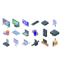 Interactive tv icons set isometric style vector