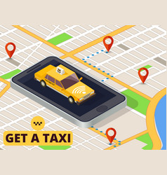 Isometric mobile taxi online taxi service and vector